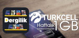 Turkcell Dergilik 1 GB Bedava internet